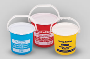 Plastic buckets with decoration